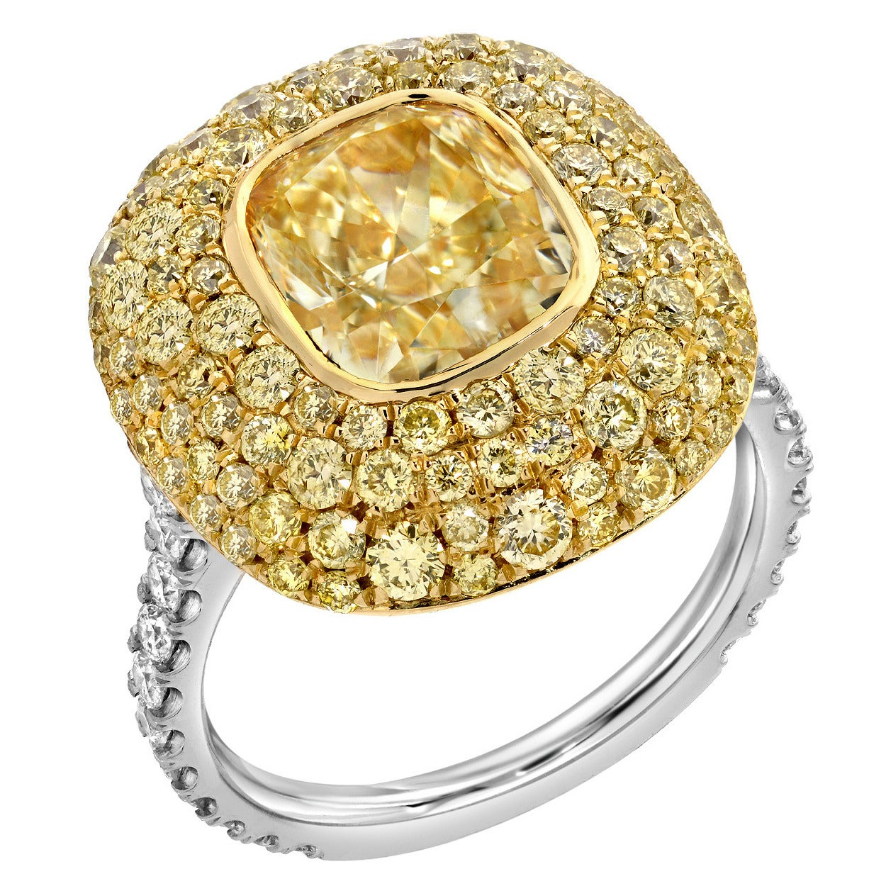 Tamir GIA Certified 3.01 Carat Fancy Light Yellow Diamond Gold Platinum Ring