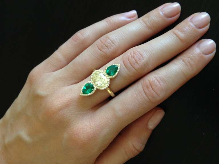 Tamir Magnificent Fancy Light Yellow Diamond and Emerald Ring at ...