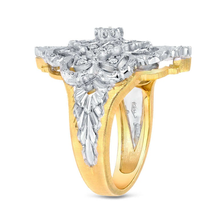 Florentine Style Hand Engraved Diamond Gold Ring For Sale at 1stdibs