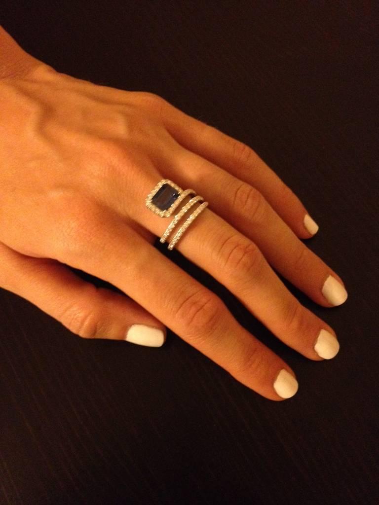Royal Blue Emerald Cut Sapphire Diamond Gold Swirl Ring 3