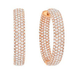 3.47 Carat Diamond Gold Hoop Earrings
