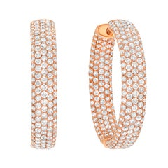 Diamond Hoop Earrings 3.47 Carats