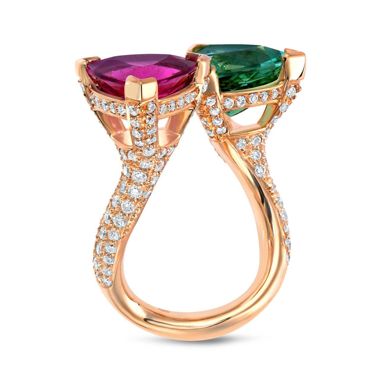Mint Green Tourmaline Pink Tourmaline Ring For Sale At 1stdibs