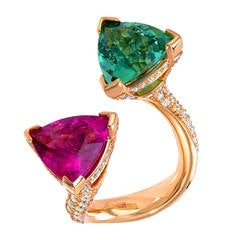 Mint Green Tourmaline Pink Tourmaline Diamond Yellow Gold Cocktail Ring