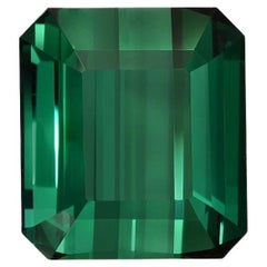 Green Tourmaline Ring Gem 7.38 Carat Emerald Cut Loose Unset Gemstone