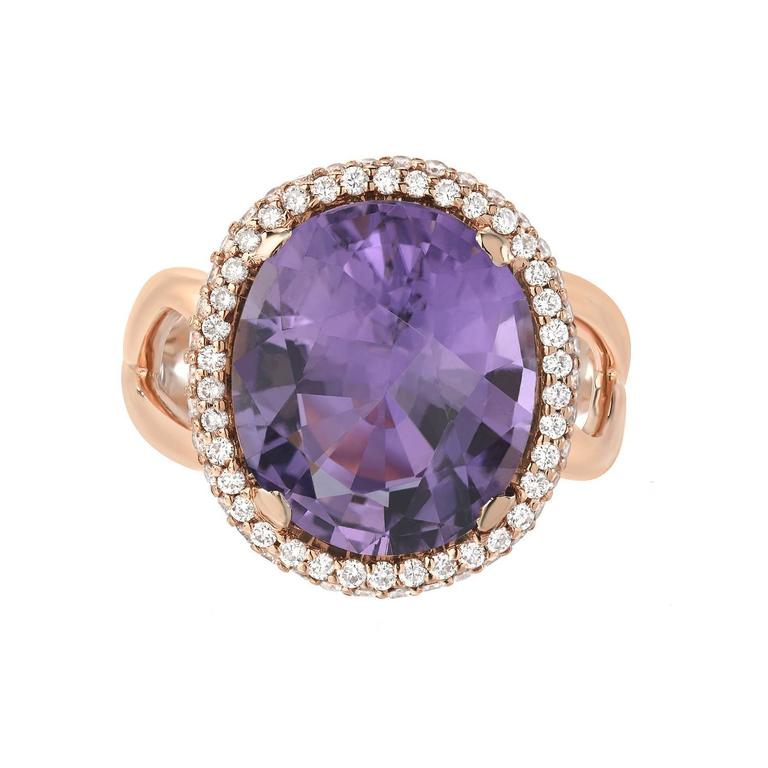 Oval Cut Tamir Rare 5.59 Carat Lavender Tourmaline Diamond Gold Ring For Sale