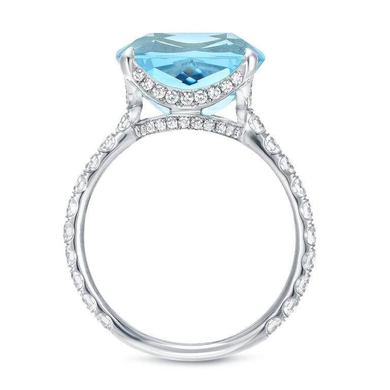 Cushion Cut Tamir 5.11 Carat Aquamarine Diamond Platinum Ring For Sale