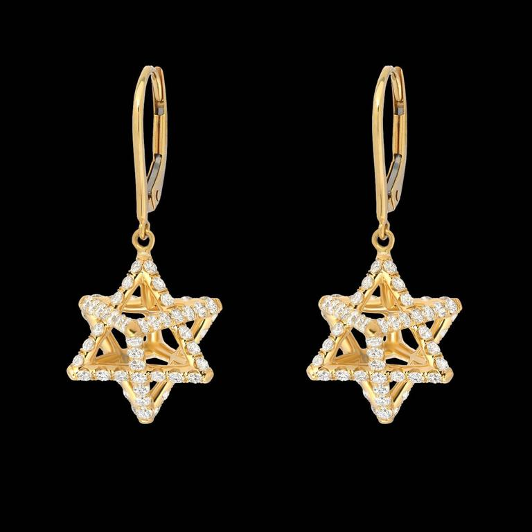 Merkaba Diamond Gold Lever Back Drop Earrings For Sale at ...