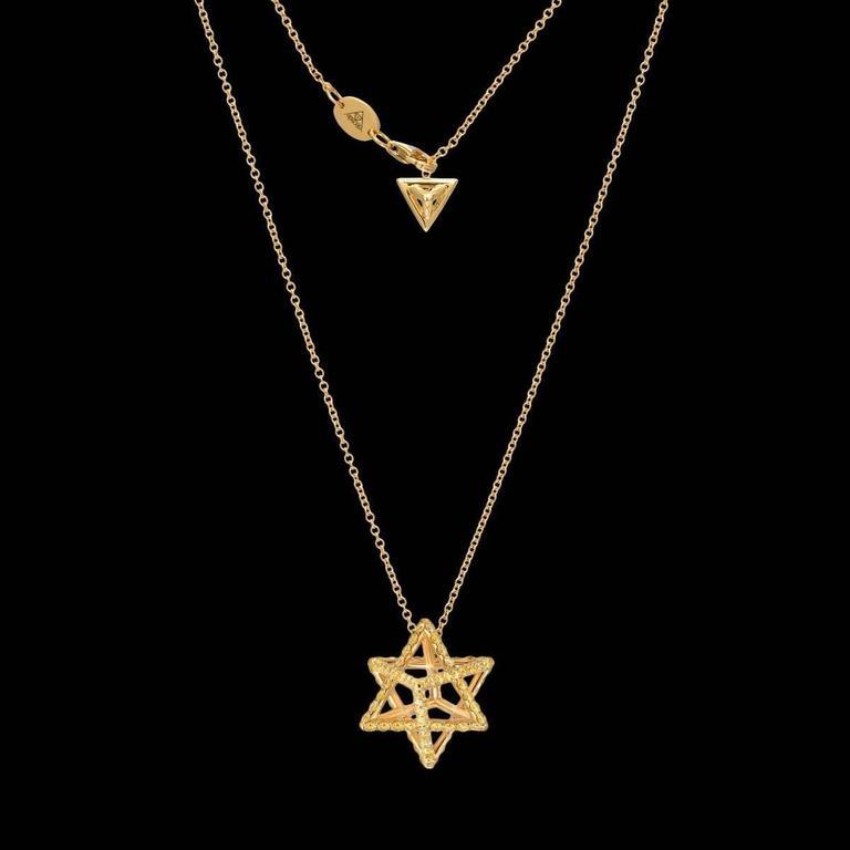 Round Cut Merkaba Star Fancy Yellow Diamond Gold Pendant Necklace For Sale
