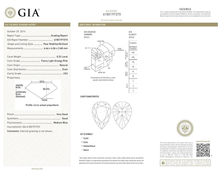 GIA Certified 0.52 Carat Fancy Light Orangy Pink Diamond Pendant 2