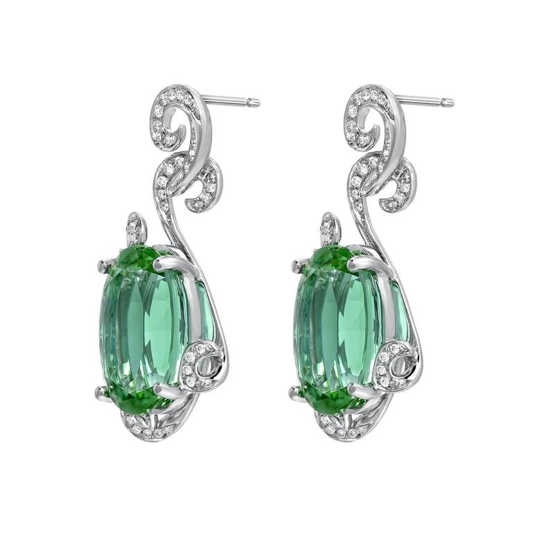 Mesmerizing 11.66 Carat Mint Green Tourmaline Diamond Earrings 2