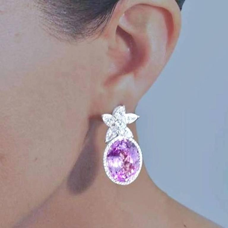 Incredibly Rare GIA Certified 36.64 Carat Pink Sapphire Diamond Earrings 2