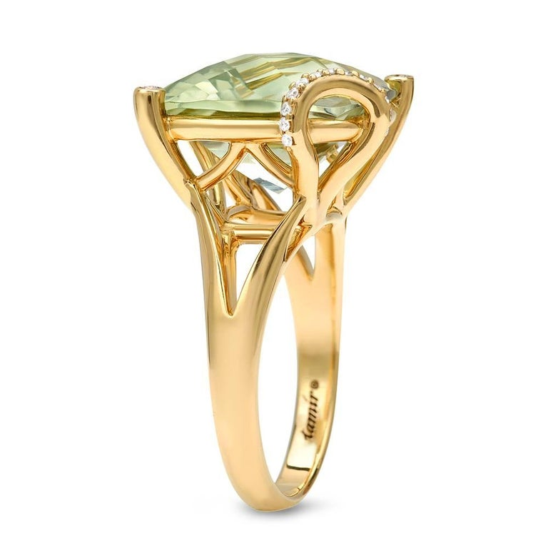 Unique 8,96ct checkerboard cushion-cut green Amethyst, 18K yellow gold ring, accented by a total of 0.07ct diamonds. Size 6.5. Re-sizing is complimentary upon request.