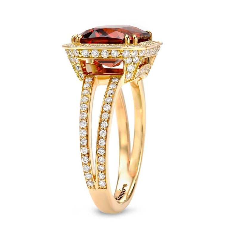Tamir 5.07 Carat Mandarin Garnet Diamond Gold Ring 2