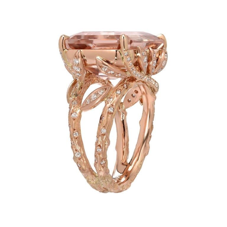 Very fine 14.49ct emerald cut Morganite, and 0.42ct total round brilliant diamonds, 18K rose gold ring. Size 6. Re-sizing is complimentary upon request.