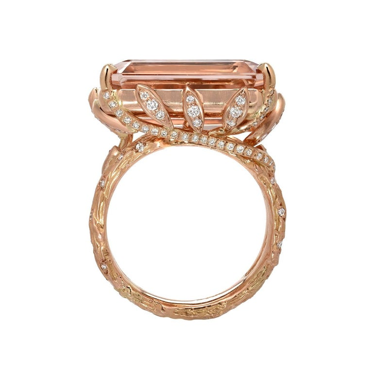 14.49 Carat Emerald Cut Morganite Diamond Rose Gold Ring In As New Condition For Sale In Beverly Hills, CA