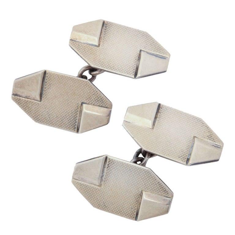1920s-1930s Art Deco Silver Cufflinks For Sale