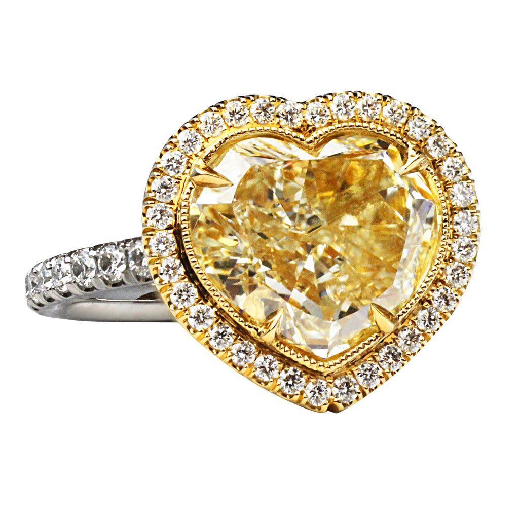 3 40 Carat Heart Shaped GIA Cert Diamond Gold Ring at 1stdibs