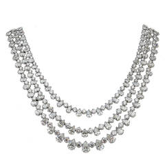 Fascinating Three Row Diamond Platinum Necklace
