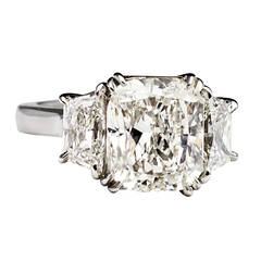 4.01 Carat Cushion Cut GIA Cert Diamond Platinum Ring
