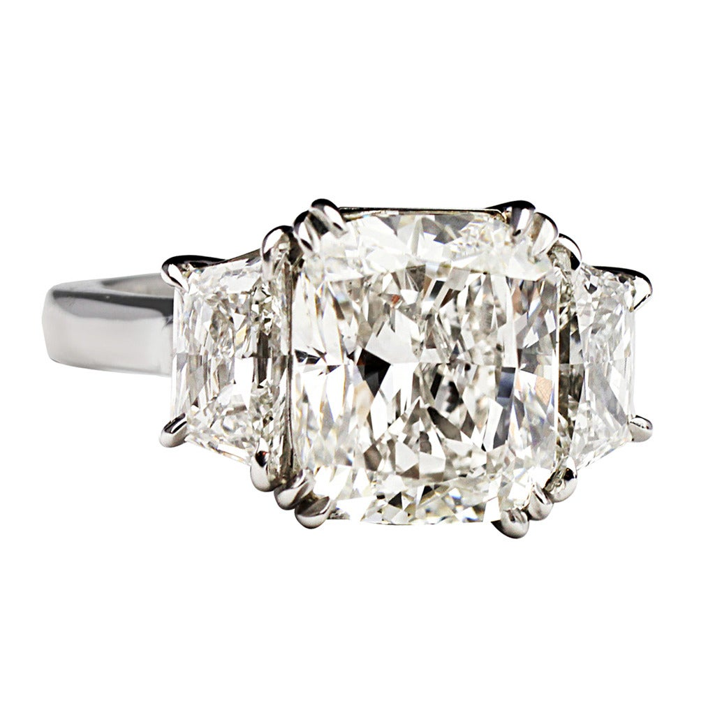 4 01 Carat Cushion Cut GIA Cert Diamond Platinum Ring at 1stdibs