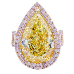 David Rosenberg 10.39 Carat Fancy Yellow Pear Shape GIA, Pink Halo Diamond Ring