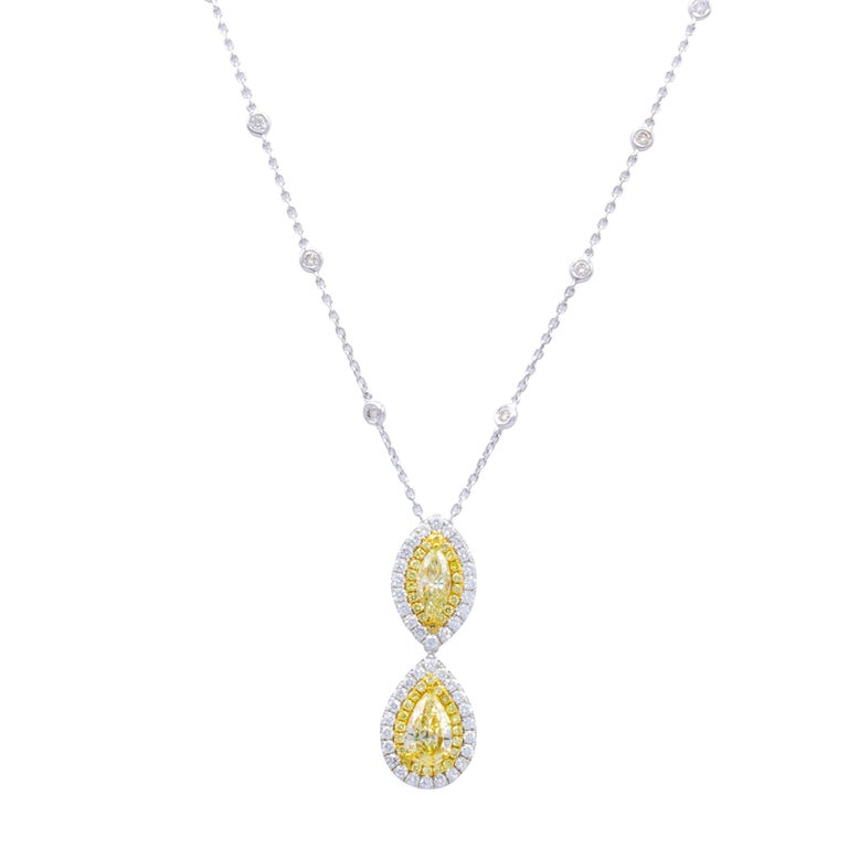 David Rosenberg Fancy Yellow Marquise and Pear Shape Diamond Pendant Necklace