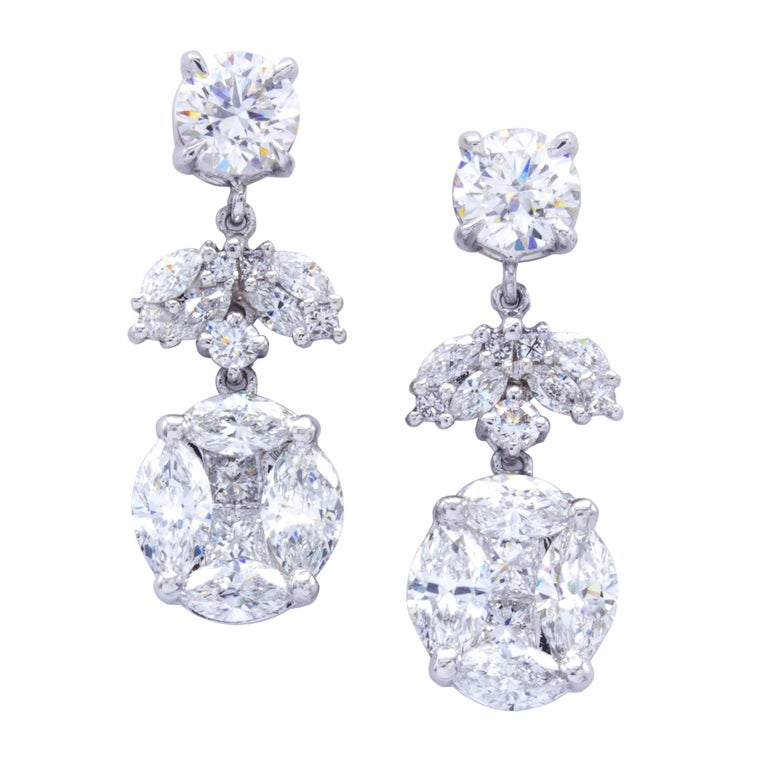 David Rosenberg 3 18 Total Carat Gia Round Stud Drop Dangle Diamond Earrings For