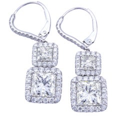 David Rosenberg Princess Cut Halo Diamond Platinum Lever Back Earrings