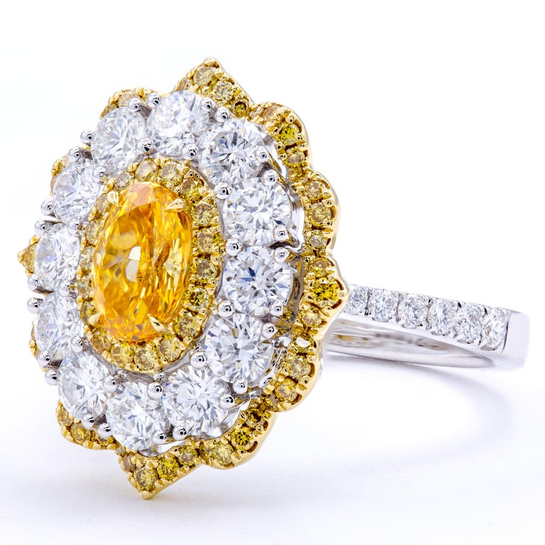 Modern David Rosenberg .78 Ct Oval Fancy Yellow Orange GIA Flower Design Diamond Ring For Sale