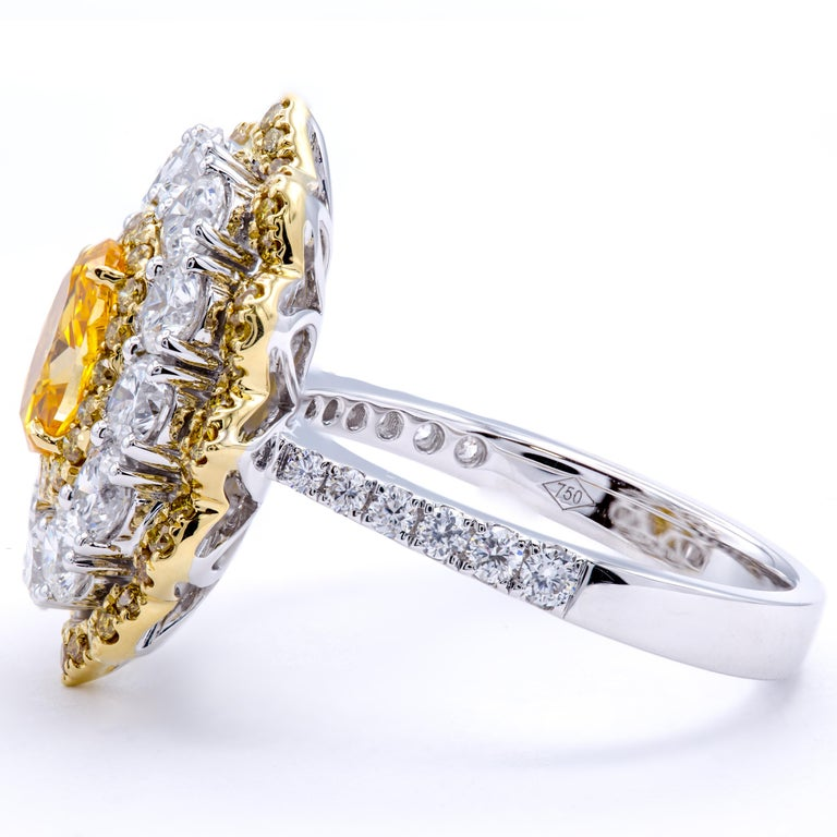 Oval Cut David Rosenberg .78 Ct Oval Fancy Yellow Orange GIA Flower Design Diamond Ring For Sale