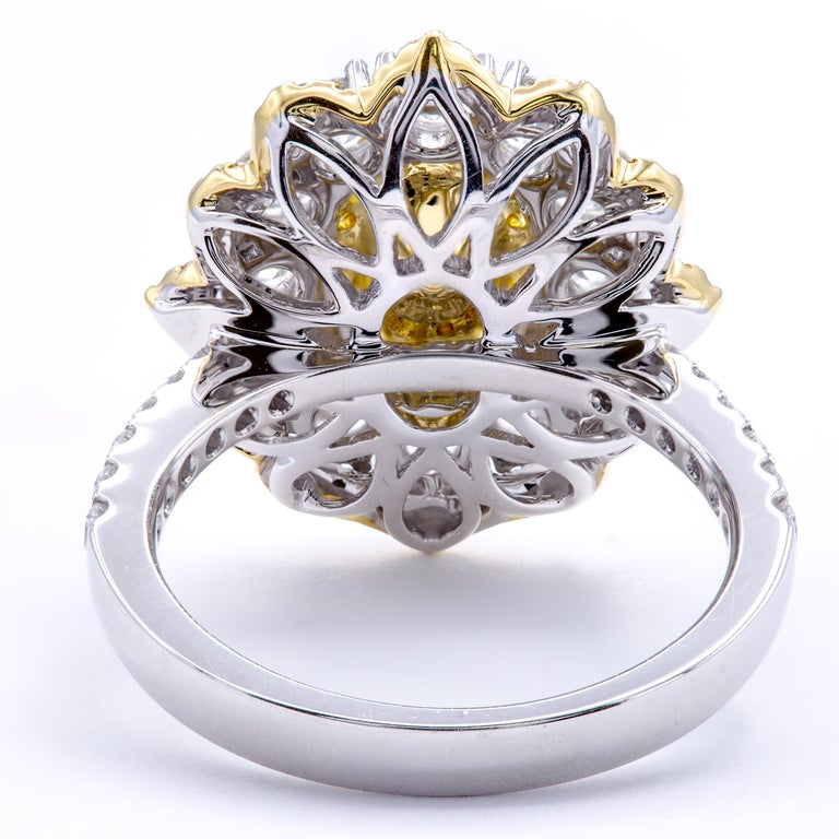 David Rosenberg .78 Ct Oval Fancy Yellow Orange GIA Flower Design Diamond Ring In New Condition For Sale In Boca Raton, FL