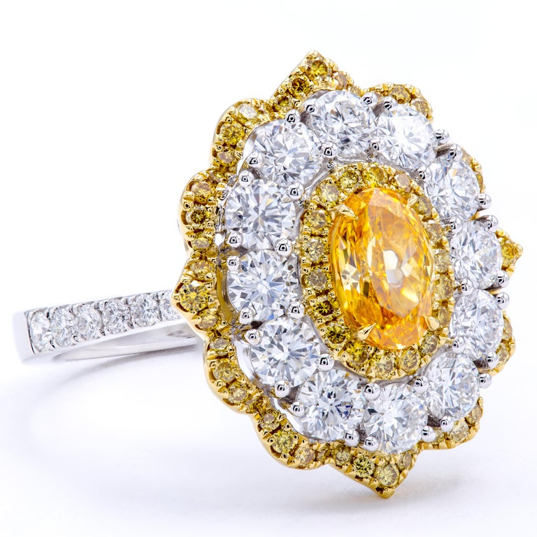 David Rosenberg .78 Ct Oval Fancy Yellow Orange GIA Flower Design Diamond Ring For Sale 1