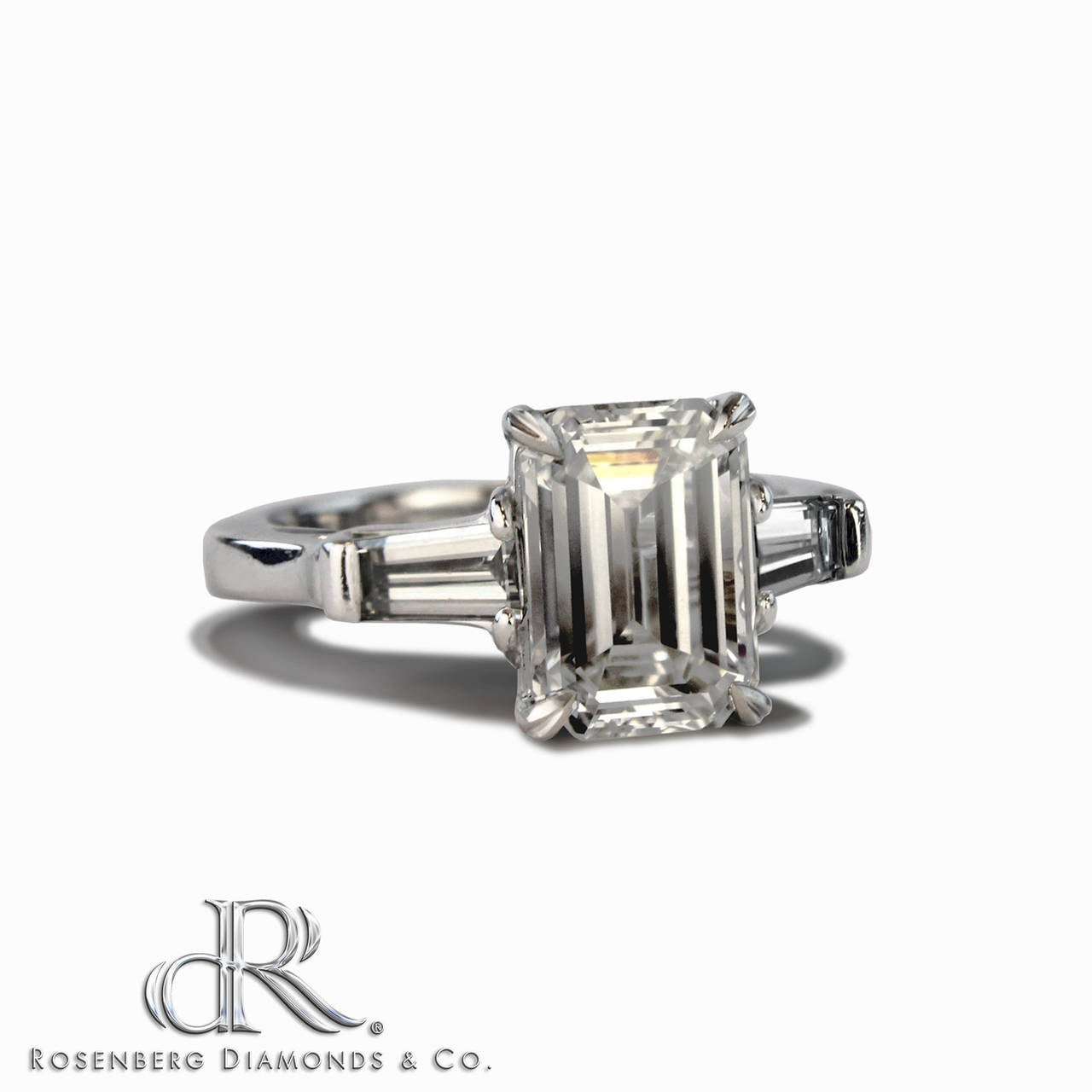 Enchanting 3 02 Carat Emerald Cut Diamond Platinum Engagement Ring at 1stdibs