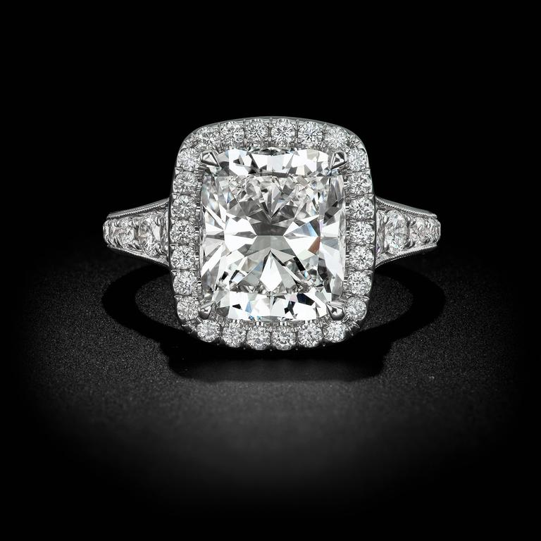 4 12 Carat Cushion Cut Diamond Gold Engagement Ring For Sale at 1stdibs