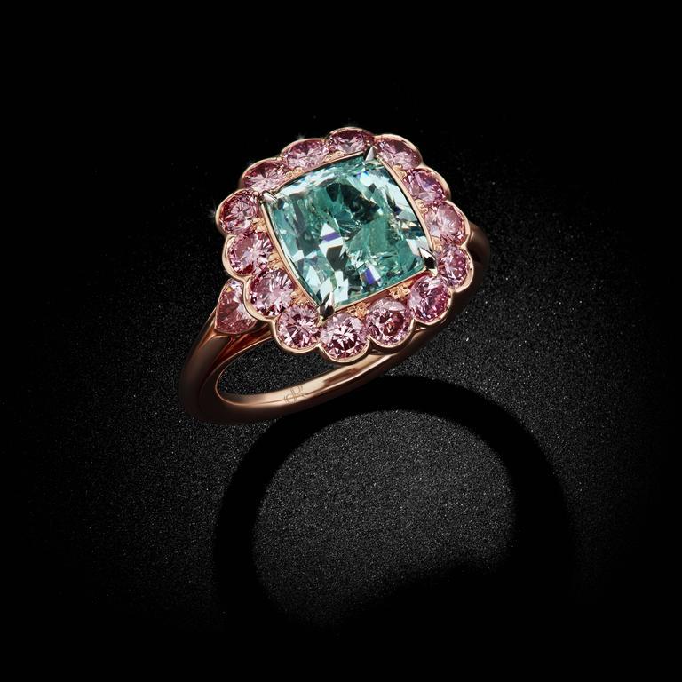 Modern David Rosenberg 4.16 Carat GIA Fancy Intense Blue Green Cushion Cut Diamond Ring For Sale