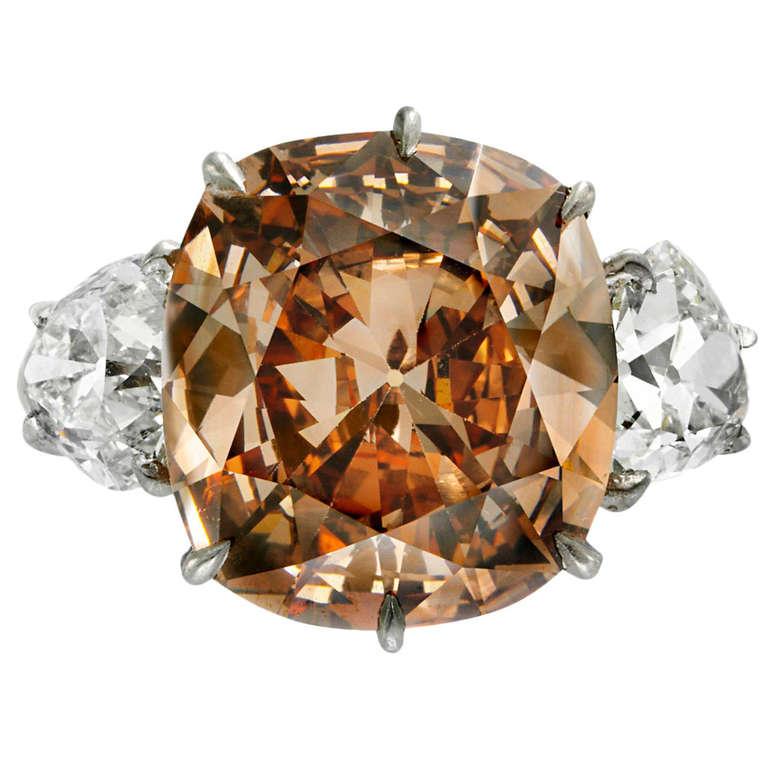 Fancy Orange Brown 7 02 carat diamond ring
