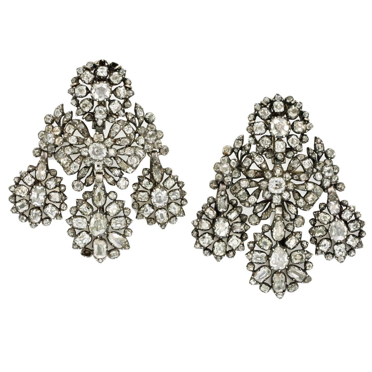Magnificent 18th Century Diamond Girandole Earrings At 1stdibs