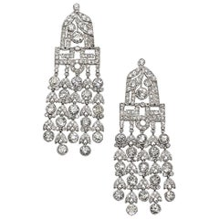Art Deco Diamond Tassel Drop Earrings, Platinum.