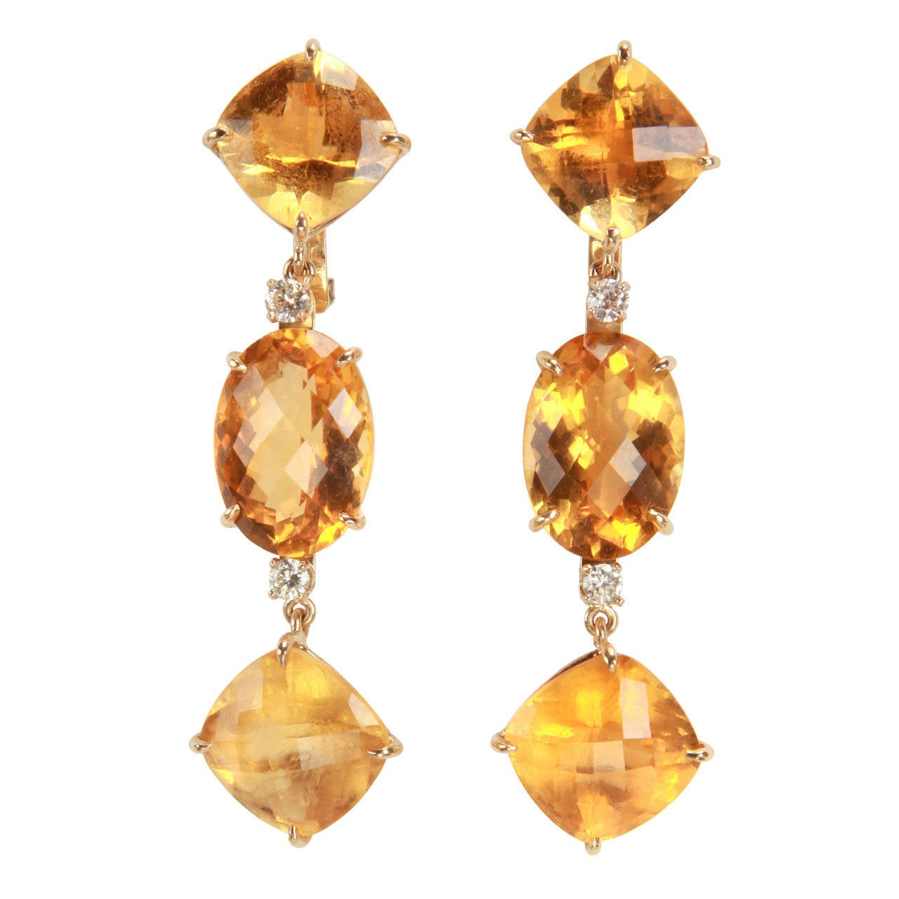 Elegant Citrine Diamond Gold Three Stone Drop Earrings