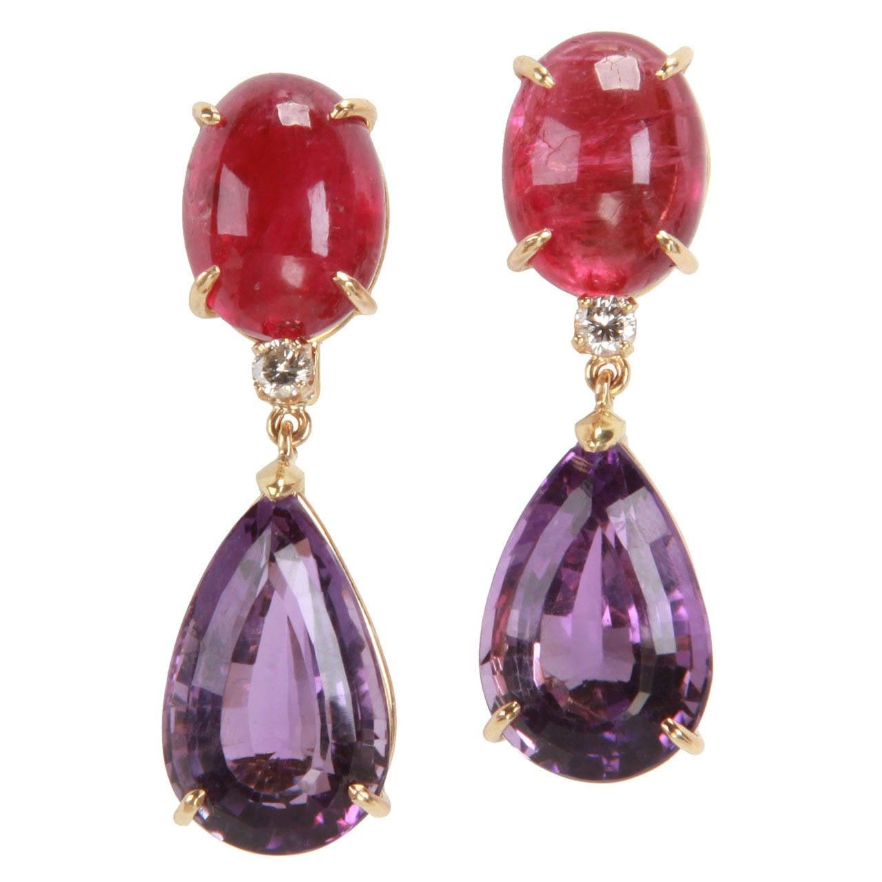 Rubelite Amethyst Diamond Gold Drop Earring