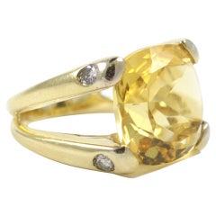 Cushion Citrine Diamond Gold Ring