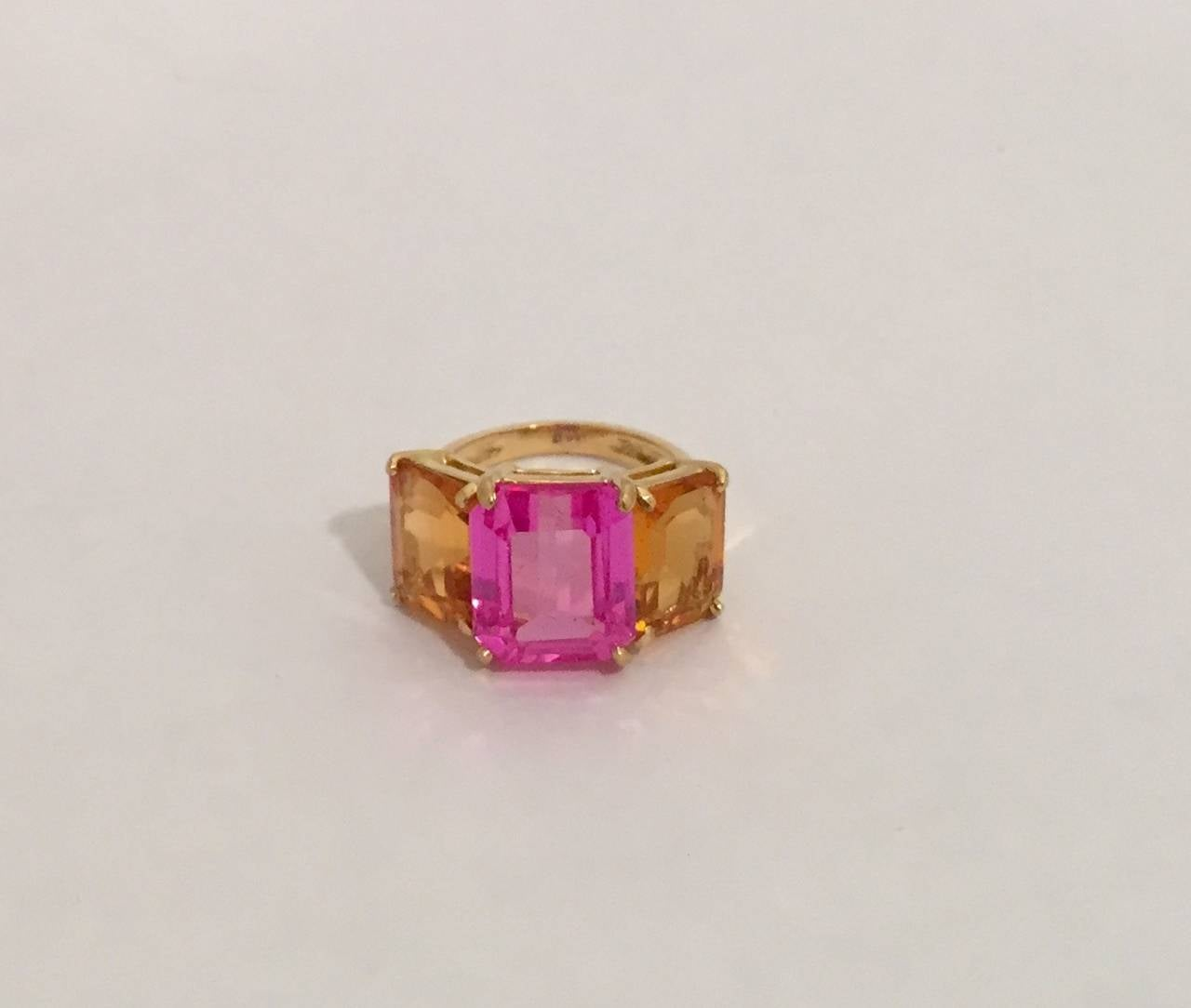 citrine pink topaz gold three emerald cut ring for