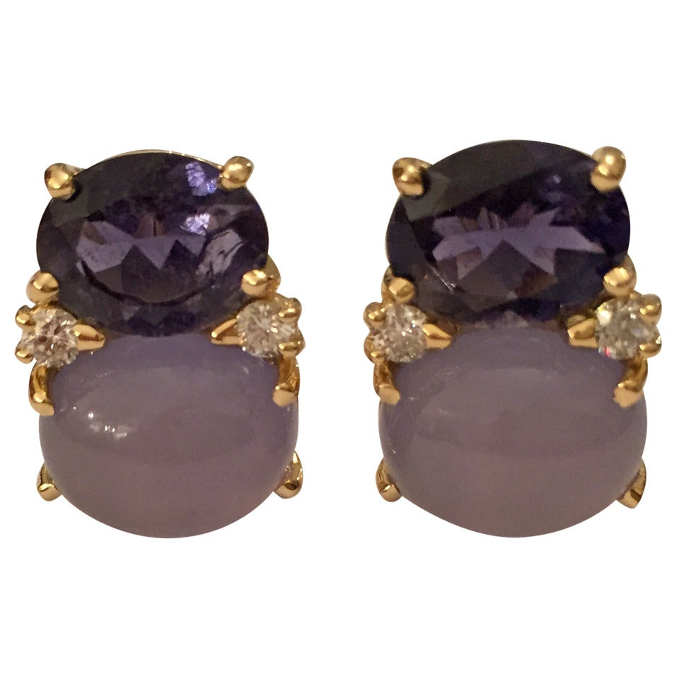 Medium GUM DROP™ Earrings with Iolite and Cabochon Chalcedony and Diamonds For Sale