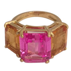 Citrine Pink Topaz Gold Three Stone Emerald Cut Ring