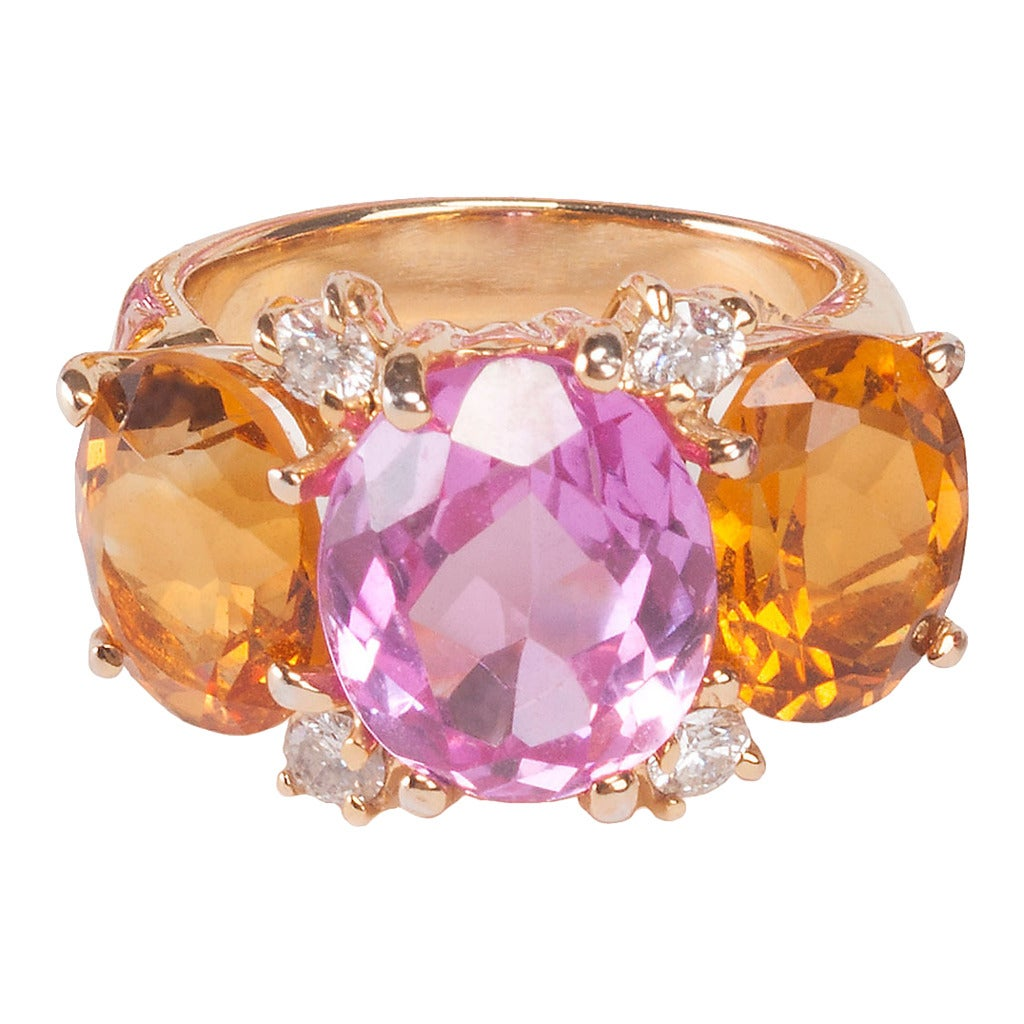 Medium GUM DROP™ Ring with Pink Topaz and Citrine and Diamonds