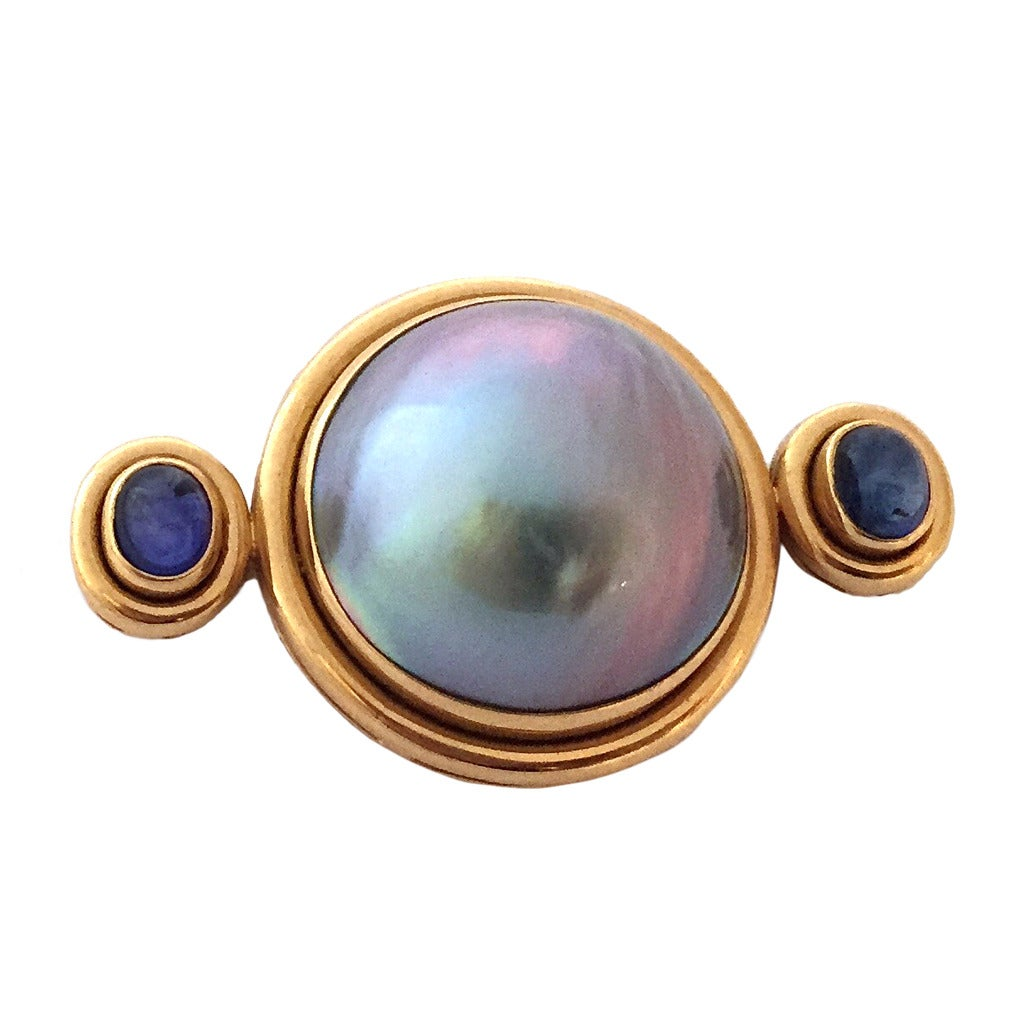 Elizabeth Locke Mabe Pearl Sapphire Gold Brooch
