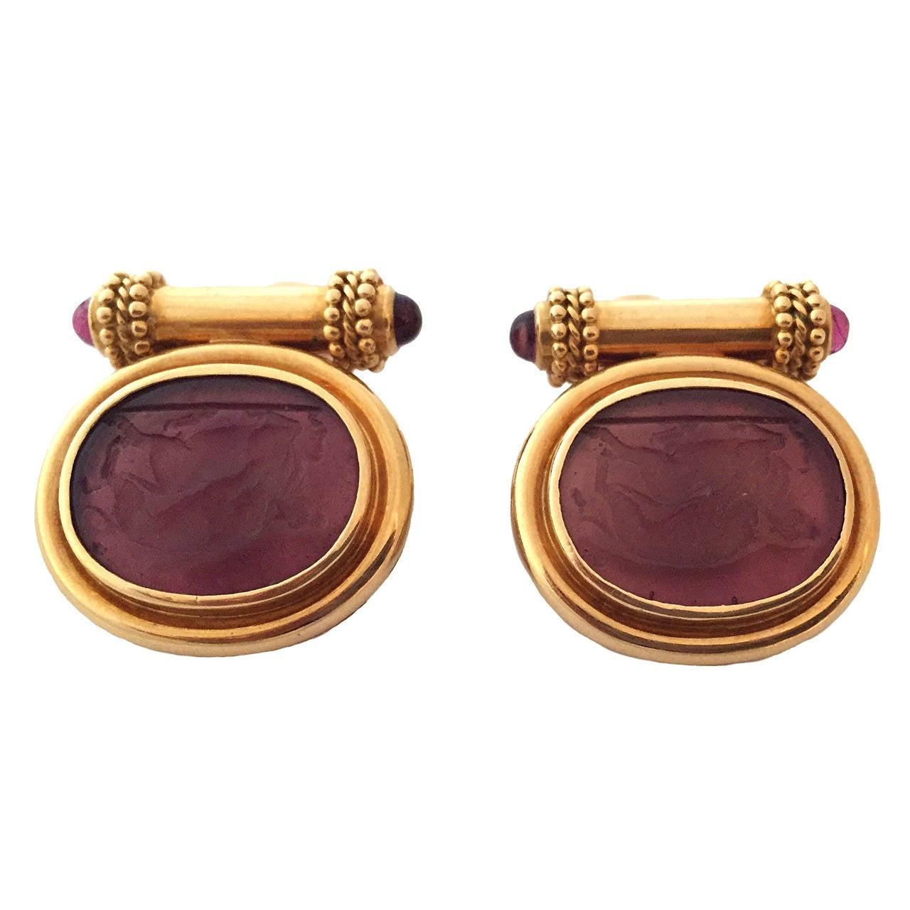 Elizabeth Locke Pink Venetian Glass Intaglio Gold Earrings