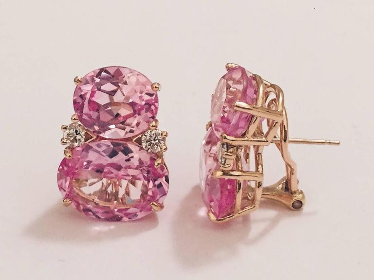 18kt Yellow Gold Large GUM DROP™ Earrings with faceted Pink Topaz and diamonds.  The Top oval Pink Topaz  is approximately 5 cts each and the Bottom faceted Pink Topaz is approximately 12 cts each, and 4 diamonds weighing approximately 0.60cts