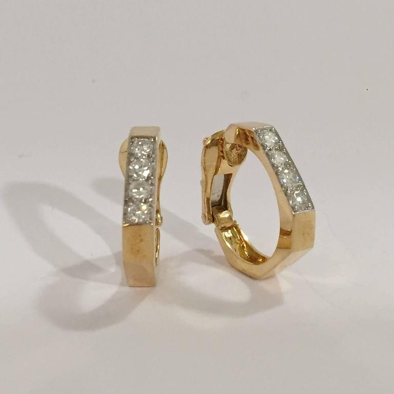 David Webb Diamond Gold Hoop Earrings   2